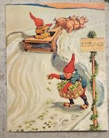 Postcard ~ 11X14cm Christmas Gnome Pigs Pulling Sleigh
