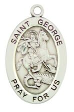 Saint St George Pray For Us Pendant 1 1/16 Inch Sterling Silver Medal