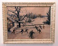 Gemälde auf Papier Aquarell signiert! Winterszene Schlittschuhe. Preissenkung!