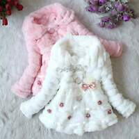 Baby Girls Faux Fur Fleece Coat Party Pageant Warm Jacket Xmas Snowsuit 1-5Years