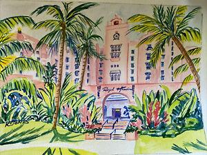 ROYAL HAWAIIAN HOTEL Watercolor Painting Hawaii Waikiki Beach pink Kristi Jones
