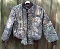 VINTAGE REALTREE CAMO CAMP HUNTING QUILTED JACKET YOUTH CHILD SZ. 6-8? ZIP FRONT