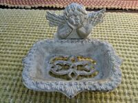 Cast Iron Angel Soap Dish Cherub antiqued gold white tray bowl footed