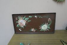 "ANTIQUE PRIMITIVE TOLEWARE HAND PAINTED ROSES BROWN TRAY 9"" X 18"" TIN TOLE"