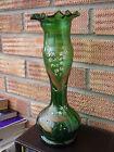 Art Nouveau Green Glass Vase with Frilled Wavy rim & Leaf design.