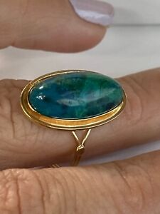 14k Yellow Gold & Green Turquoise  Ring Womens Fine Cocktail Ring Any size
