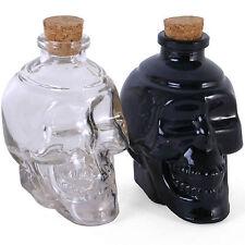 Pair Of Skulls Corked Glass Bottles Decanter Vodka Wine Whisky Halloween Scary