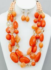 Three Layers Multi Orange Lucite Bead And Faceted Glass Bead Necklace Earring