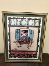 """Mary Engelbreit 1984 Framed Matted Print """"Bloom Where You're Planted �. 13x10�"""
