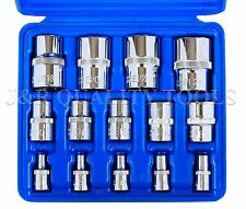 "14pc Torx Torq Torque Star Female E-Socket Set Bit 1/4""+3/8""+1/2"" Dr. w/Case"