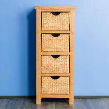 Surrey Oak Tallboy Chest of Baskets / Solid Wood Slim Narrow Wellington Chest