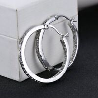 Fashion CZ Zircon Silver Crystal Dangle Big Hoop Earrings Women Wedding Jewelry