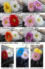 2 x Gerbera Daisy Car Flower for VW Beetle Bug Dash Vase 'You Pick the Colours'