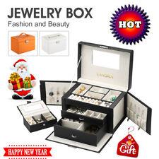 LANGRIA Matte Faux Leather Jewelry Box Lockable Makeup Storage Case Organizer US