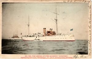"1906 U.S. NAVY GUN BOAT ""CONCORD"" on early Japanese Postcard"