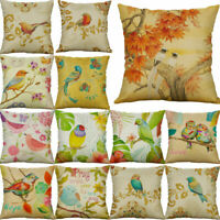 Vintage Birds 18inch Cotton Linen Pillow Case Waist Home Decor Cushion Cover
