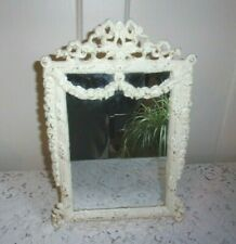 Victorian Style Cast Iron Floral Swag Painted Table Mirror with Stand