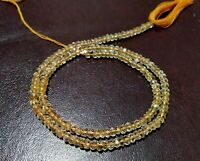 "1 Strand Natural Citrine Rondelle 3.5-4mm Faceted Gemstone Beads 13""Inch,Yellow"