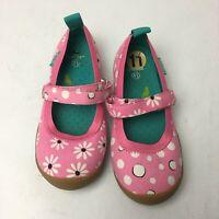Chooze Shoes Girls Size 11 Pink Canvas Daisy Polka Dot Mary Jane