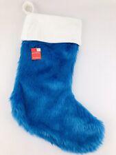 "Blue Faux Fur Christmas Stocking 21"" Soft & Plush Thick Wondershop Target NWT"