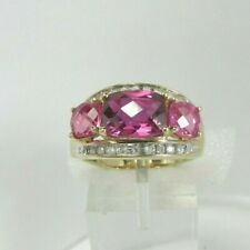 Estate 10K YG 3.19 CTW Topaz .18 CTW Diamond Ring 5.2 Grams Size 7