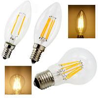 E14 E27 2W 4W 6W 8W LED Filament Bulb Globe Candle Tail Light Warm White 2700K