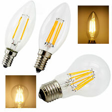 Dimmable E14/E27 Warm White LED Filament Bulb Globe Candle Lights 2-8W Lamp 220V
