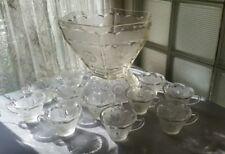 HAZEL ATLAS AMERICANA HEXAGON  EAGLE STAR PUNCH BOWL, BASE & 11 CUPS