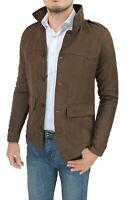 Diamond cappotto giacca uomo scamosciato marrone moro slim fit giubbotto trench