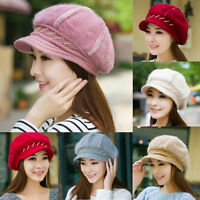 Winter Warm Rabbit Fur Women Beret Baggy Beanie Crochet Knit Cap Wool Hat 192
