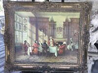 VINTAGE REPRODUCTION FAUX OIL PAINTING EDWARDIAN STYLE SCENE GOTHIC FRAMED