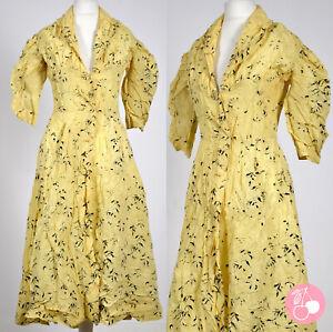 YELLOW BLACK FLOCKING, PUFF SLEEVE, BUTTON-THROUGH 1940s VINTAGE DRESS 8