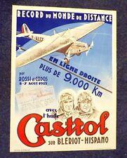 RARE 1933 CASTROL OIL FRENCH AERONAUTICAL ROSSI & CODOS POSTER ~WORLD RECORD~