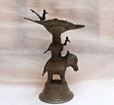 Oil Lamp With Unique Design Handmade Print Of Peacocks And Elephant BR 217