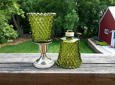 2 Homco 1194-2Bd Diamondlite Avocado Green Peg Votive Cup Candle Holders W/Grips