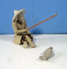 "Vintage fine bonsai mudman ""fisherman"" hand crafted master potter unused 1970s"
