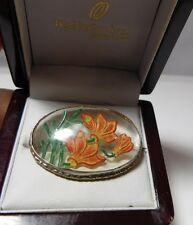 British Vintage Intaglio Crystal Glass Reverse Painted Primula Flowers Brooch