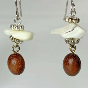 New Handmade White Natural Shell Hook Earrings with Wood Oval Beads E023