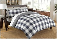 Cotton Chambray Reversible King Duvet Cover Set Oxford Stripe Blue 200 Thread Ct