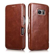 Echt Leder Flip Case Tasche Schutz Hülle Wallet Etui Slim Cover für Handy