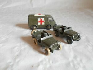 Dinky toys france Army series to restore 2 x willys jeep and renault ambulance
