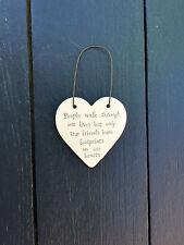 East of India Mini Wooden Heart on Wire Hanger True Friends Live Footprints