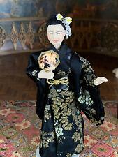 Vintage Mini Dollhouse Doll Artisan Porcelain Japanese Geisha Lady Jointed Silk