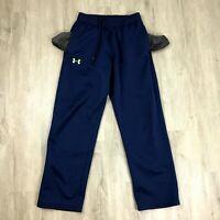 Under Armour Sweatpants Mens Size Medium Blue Drawstring Pockets Yellow Logo