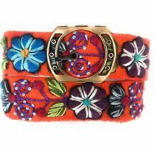 Women's embroidered Peruvian Orange wool belt. Sundance Belt. Size Medium.