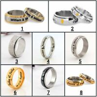 Personalized Stainless Steel Spinner Ring Any Name Date Ring for Him and Her