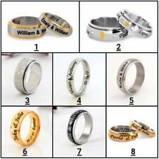Personalized Stainless Steel Spinner Ring Any Name Date Ring for Him & Her 2019