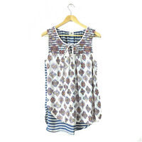 Anthropologie One September Tunic Top L Women's Embroidered Sleeveless