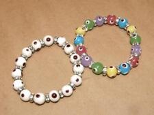2 Evil Eye Glass 10mm Bead & Rhinestone Stretch Bracelet Hamsa Judaica Kabbalah