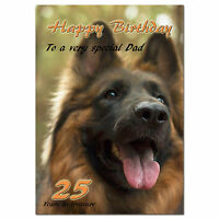 g398; Large personalised BIRTHDAY CARD with your text; GSD German Shepherd dog